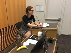 Megan Carolan leads a discussion