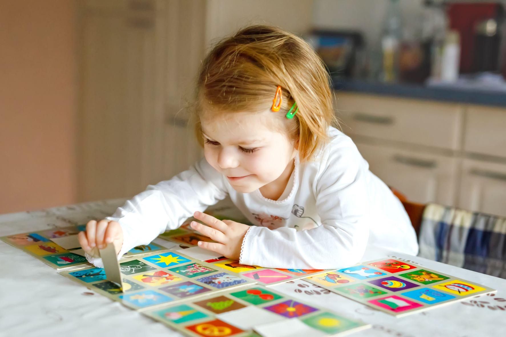 Child Playing Memory Game